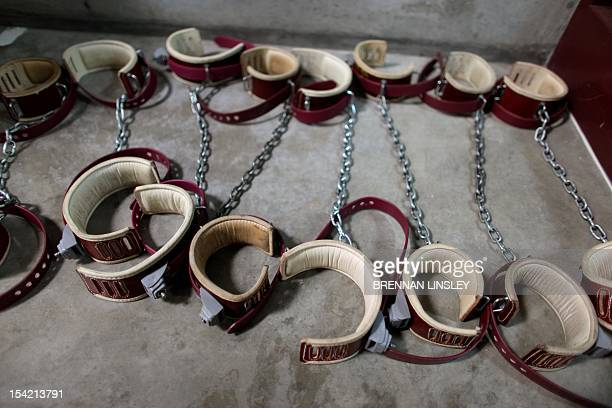 In this photo, reviewed by the US Military, aleg shackles pictured on the floor at Camp 6 detention center, at the US Naval Base, in Guantanamo Bay,...