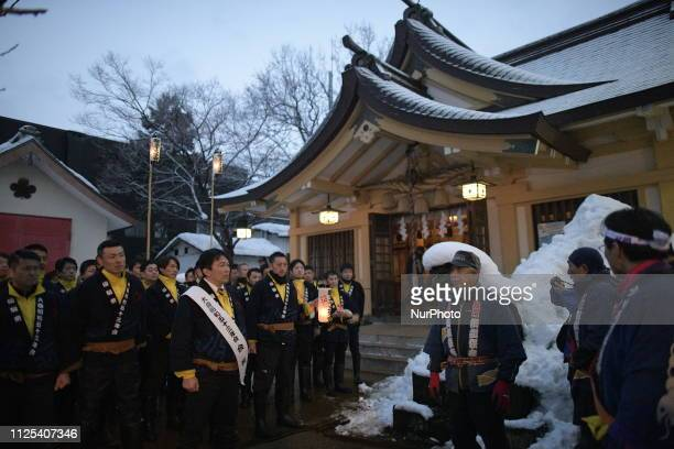 In this photo shows Akita residents participates in the ceremony of a traditional event, the Tug of war of Omagari at Suwa-jinja Shrine, Omagari,...