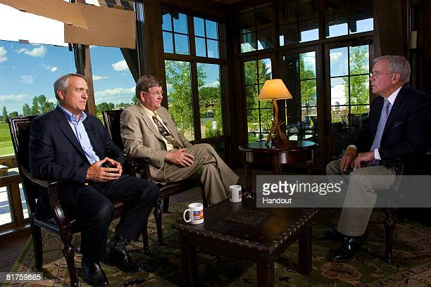 In this photo supplied by Meet the Press Colorado Governor Bill Ritter and Wyoming Gov Dave Freudenthal speak with host Tom Brokaw on stage during a...