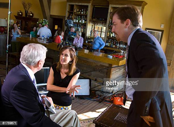 In this photo supplied by Meet the Press Onair analyst for NBC News Chuck Todd speaks with host Tom Brokaw and Executive producer Betsy Fischer on...