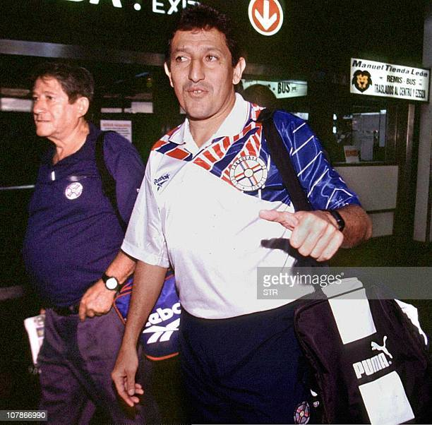In this photo taken 17 February 1998 of Julio Cesar Romero of Paraguay on his way to Asuncion Paraguay to play with his home country team ILUSTRA...