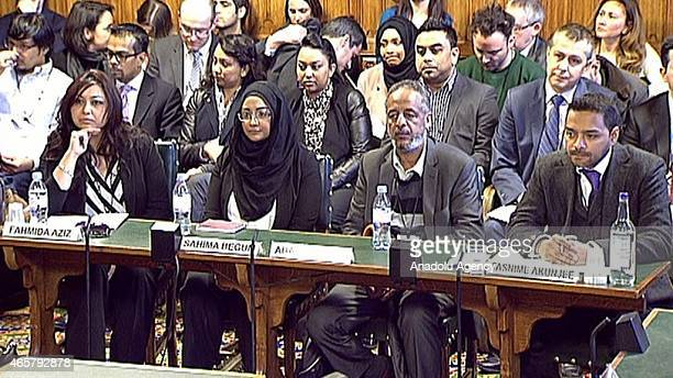 In this photo taken from video Kadiza Sultana's Cousin Fahmida Aziz Shamima Begum's sister Sahima Begum Amira Abase's father Hussen Abase and Lawyer...