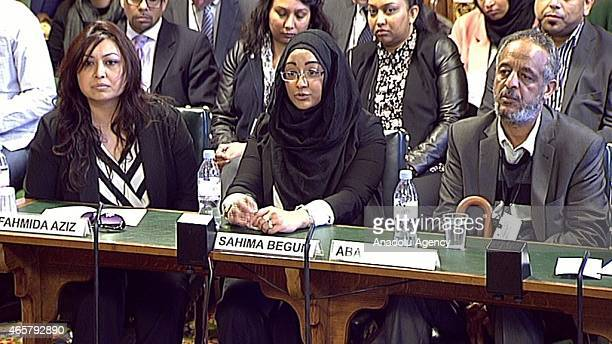 In this photo taken from video Kadiza Sultana's Cousin Fahmida Aziz Shamima Begum's sister Sahima Begum and Amira Abase's father Hussen Abase attend...