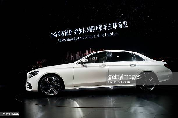 In this photo taken in Beijing on April 24 a new Mercedes Benz EClass Long Wheelbase is seen on display during the 'Auto China 2016' Beijing...