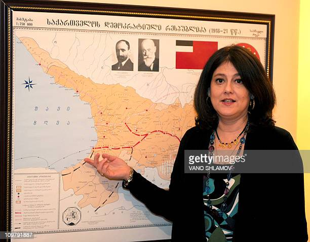 In this photo taken in February 23 Nicole Jordania, the granddaughter of Noe Zhordania, leader of the Georgia's government in 1921 that fled to...