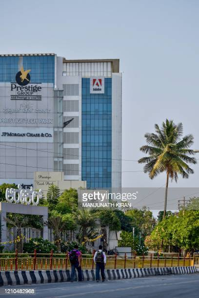 In this photo taken on April 16 a general view shows the Indian office of US multinational computer software company Adobe Inc. In Bangalore. -...