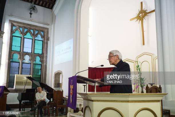 In this photo taken on April 6 former bishop of Hong Kong Cardinal Joseph Zen speaks to attendees at the Kowloon Union Church in Hong Kong, to pray...