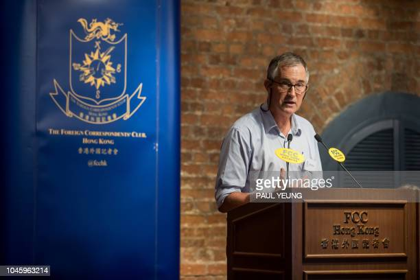 In this photo taken on August 14 Victor Mallet a Financial Times journalist and vice president of the Foreign Correspondents' Club speaks during a...
