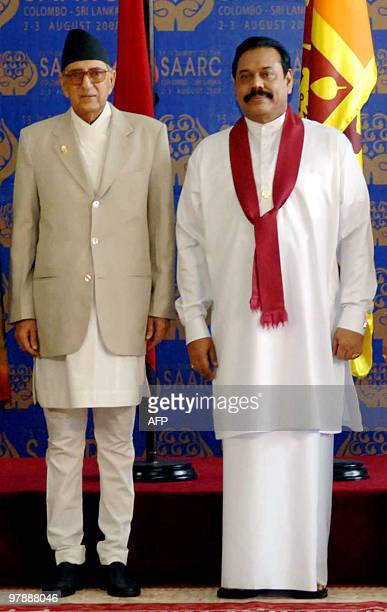 In this photo taken on August 2 Nepal's thenPrime Minister Girija Prasad Koirala poses for a photograph with Sri Lankan President Mahinda Rajapakse...