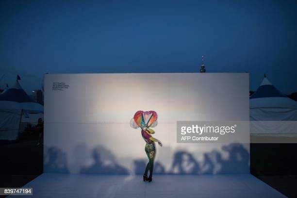 In this photo taken on August 26 a model representing Emanuele Borello of Italy poses for a photo during the Daegu International Bodypainting...