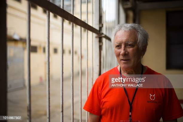 In this photo taken on August 9 Albano Martins president of Macau animal protection NGO Anima poses next to a gate that leads to the greyhound...