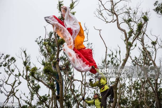 In this photo taken on December 21 people attempt to loosen a wing after a paraglider crash landed into a tree on Ma On Shan peak in Hong Kong With...