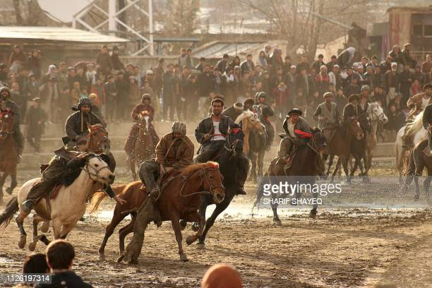 TOPSHOT In this photo taken on February 19 Afghan horsemen compete during a game of the traditional sport of Buzkashi in Badakhshan province The...