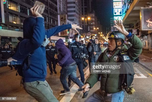 In this photo taken on February 9 protesters clash with police during demostrations later dubbed the Fishball Revolution in the Mongkok area of Hong...