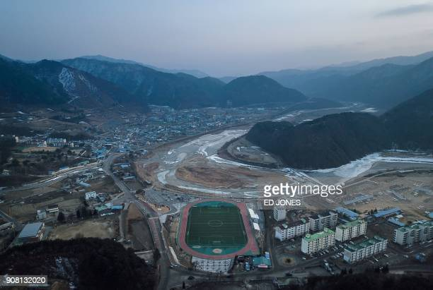 TOPSHOT In this photo taken on January 17 2018 shows a overview of HaeanMyeon a small military town near the Demilitarized Zone and border between...