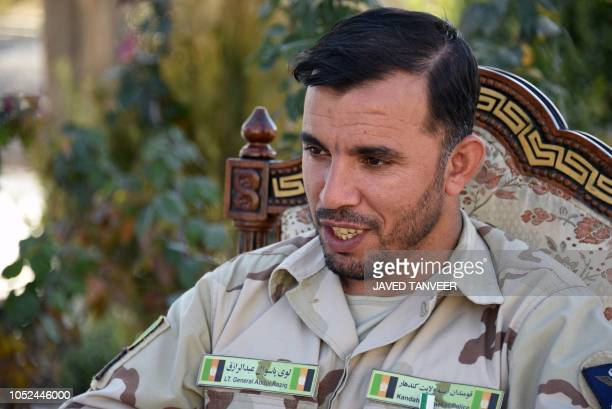 In this photo taken on January 2 Afghan General Abdul Raziq police chief of Kandahar looks on as he speaks during a press conference in Kandahar...