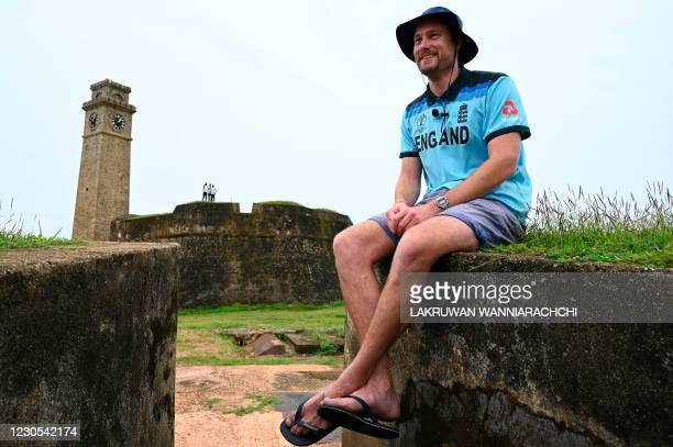 In this photo taken on January 9 English member of the Barmy Army fan group Rob Lewis poses for pictures during an interview with AFP at the ramparts...