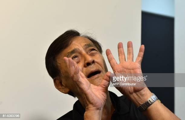 In this photo taken on July 7 Taiwan musician and former political prisoner Chen Shenching gestures during an interview in New Taipei City As Taiwan...