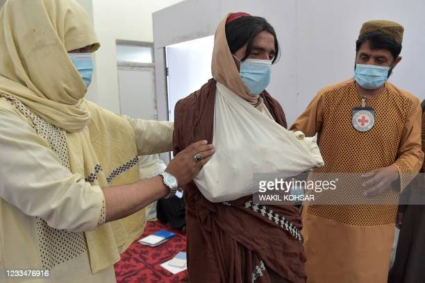 In this photo taken on June 3 Taliban fighters participate in a first-aid training class organised by the International Committee of the Red Cross ,...