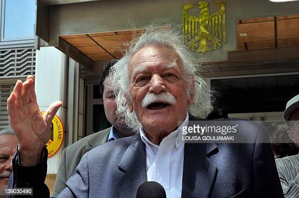 In this photo taken on June 6 activist and writer Manolis Glezos speaks to the press outside the German embassy in Athens Glezos an emblematic figure...