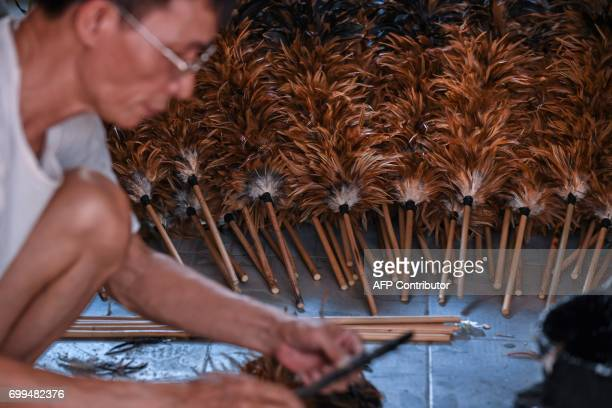 In this photo taken on June 6 Nguyen Huy Luan puts chicken feather dusters together at a house in the outskirts of Hanoi Fluffy soft and easy to buy...