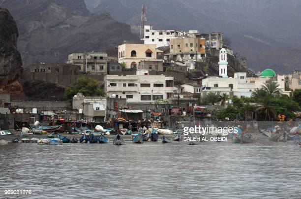 In this photo taken on June 7 a general view shows flooding in the coastal city of Aden Yemen caused by heavy rain