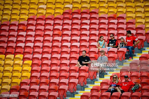 In this photo taken on March 14 sparse crowds watch the Super Rugby match between Japan's Sunwolves and New Zealand's Crusaders at Suncorp Stadium in...