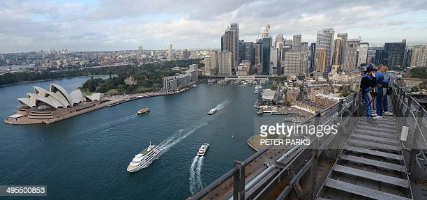 In this photo taken on May 29 2014 shows a view of the central business district of Sydney from the top of Sydney Harbour Bridge Surging mining...
