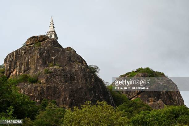 In this photo taken on May 29 2020 a general view shows the Dimbulagala Raja Maha temple in the east of the island on May 29 on the eve of Buddhist...