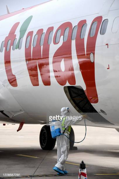 In this photo taken on September 16 a worker sprays disinfectant in the luggage hold of a Boeing 737-800 operated by South Korean carrier T'way after...
