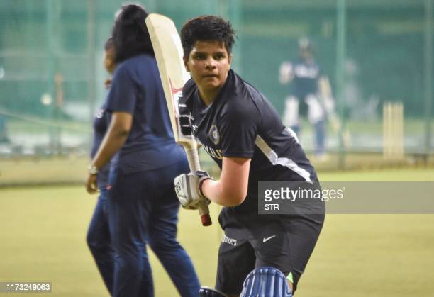 In this photo taken on September 28 2019 cricketer Shafali Verma trains during an Indian cricket team practice session in Surat ahead of a Twenty20...