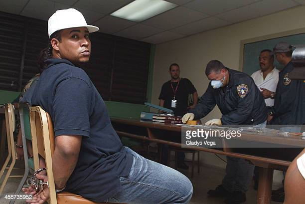In this photo taken Sept 7 Don Omar is seen after his first arrest for guns and drugs charges on September 7 2004 in San Juan Puerto Rico