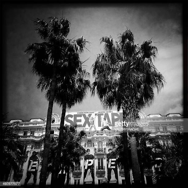 In this photo taken with a mobile phone shows the Carlton hotel on the Croisette during the 67th edition of the Cannes Film Festival in Cannes...