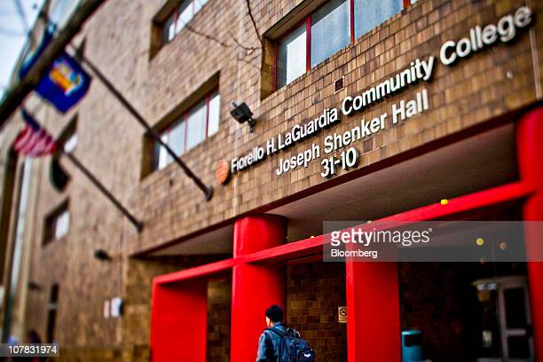 In this photo taken with a tiltshift lens a student walks past Joseph Shenker Hall at LaGuardia Community College in the Queens borough of New York...
