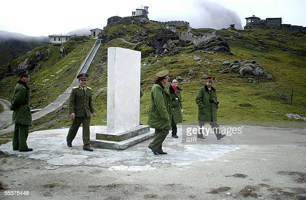 STORY 'INDIACHINANORTHEASTTRADE' In this photograph dated August 2003 Chinese soldiers are pictured at the Nathu La Pass area at the IndiaChina...