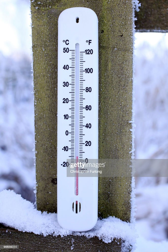 In this photograph illustration a garden thermometer reads a temperature of -14C after the coldest night this winter on January 8, 2010 in Knutsford, United Kingdom. Britain is continuing to be gripped by the Arctic weather suffering its coldest night of the winter so far with temperatures down to -22.3C in a village in the Scottish Highlands. Forecasters have predicted the cold spell to last for another week.