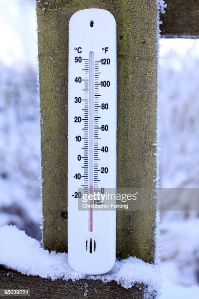 In this photograph illustration a garden thermometer reads a temperature of -14C after the coldest night this winter on January 8, 2010 in Knutsford,...