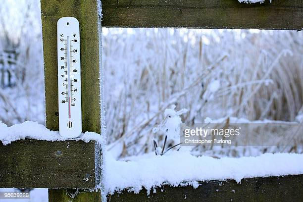 In this photograph illustration a garden thermometer reads a temperature of -15C after the coldest night this winter on January 8, 2010 in Knutsford,...