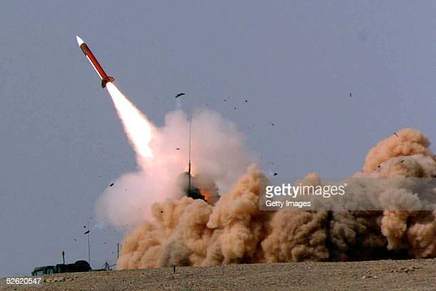In this photograph provided by the Israeli Defense Forces a Patriot missile is fired from a desert launch site April 12 2005 in southern Israel The...