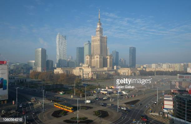 In this photograph shot through a glass window the Palace of Culture and Science stands in the city center on November 12 2018 in Warsaw Poland...