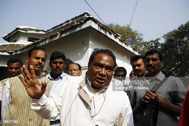 LAHIRI 'INDIAUNRESTMAOISTS' In this photograph taken 21 January 2008 statebacked Salwa Judum leader Mahendra Karma gestures as he speaks in Charma...
