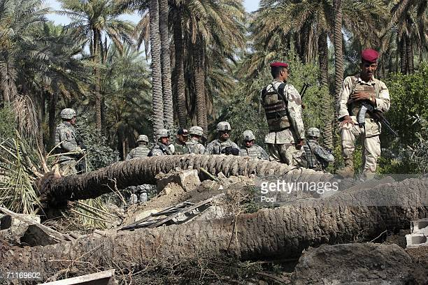 In this photograph taken during a US army media trip soldiers from the United States Army 4th Infantry Division and Iraqi soldiers stand guard scene...