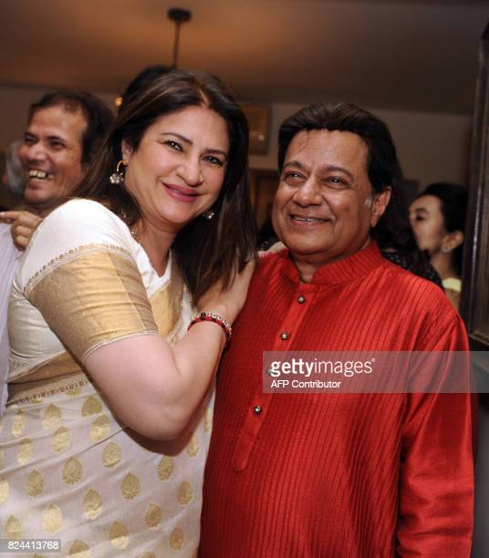 In this photograph taken July 29 2017 Indian Bollywood actress Kunickaa Lall pose for a picture during the 64th birthday celebration of Ghazal and...
