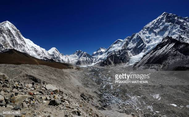 In this photograph taken on April 21 the Khumbu glacier is seen in the Solukhumbu region some 140 km northeast of the Nepali capital Kathmandu The...