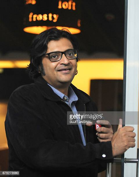 In this photograph taken on April 26 Indian television journalist Arnab Goswami poses during an interview with AFP in Mumbai Arnab Goswami India's...
