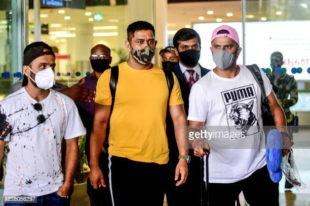 In this photograph taken on August 14 former Captain of Indian cricket team and Captain of Chennai Super Kings, Mahendra Singh Dhoni , arrives from...