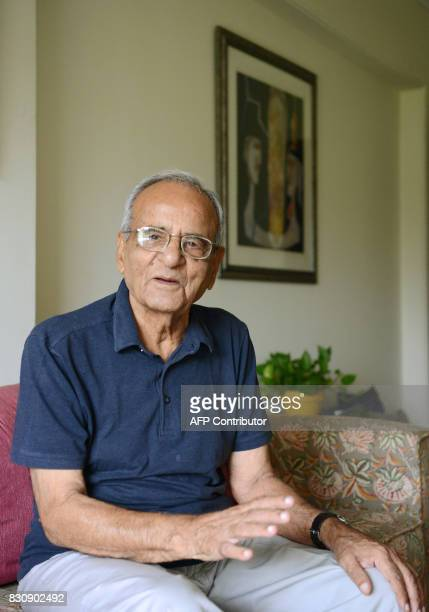 In this photograph taken on August 3 Indian Partition survivor Raj Khanna poses for a photograph at his son's house in Mumbai This month marks 70...
