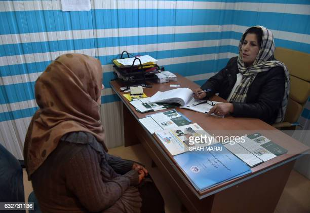 CORRECTION In this photograph taken on December 12 young Afghan woman 'Rayhana' speaks with a consultant at a youth healthcare centre in Kabul In...