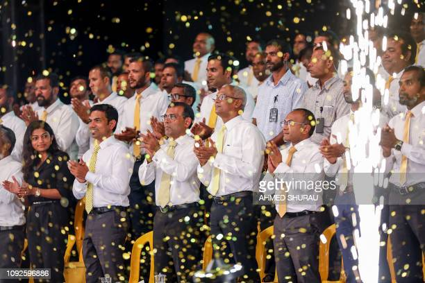 TOPSHOT In this photograph taken on February 1 Maldives' former president Mohamed Nasheed in the presence of current President Ibrahim Mohamed Solih...