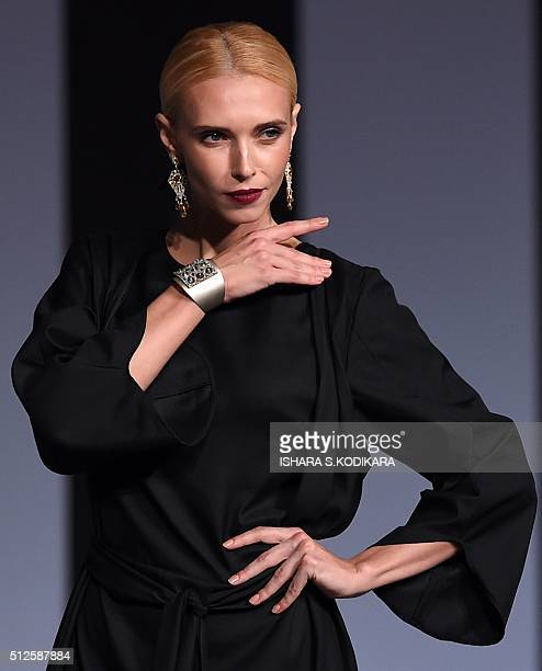 In this photograph taken on February 26 a model displays a creation by fashion designer Colombo Jewellery at Colombo Fashion Week in Colombo. Colombo...